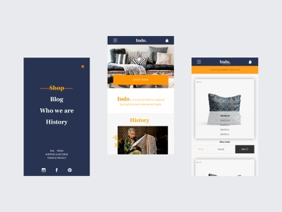 Indo - Mobile e-commerce design mcommerce mobile design fullscreen navigation product page homepage webdesign ui shop indonesian batik e-commerce design