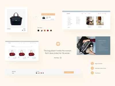 Design components from Jemma Bag components luxury bag search product card iconography wishlist mega menu navigation webdesign ui shop e-commerce design