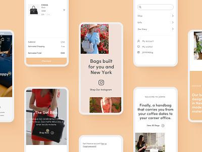Jemma Bag - Mobile screens shopping buy mobile mobile ui responsive design instagram bag cart design ecommerce luxury bag navigation ui shop e-commerce design
