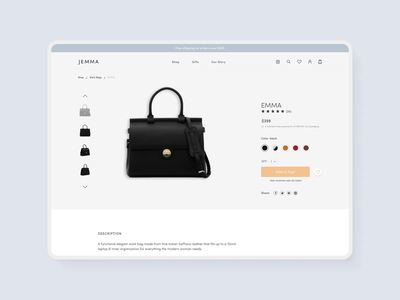 Jemma Bag - Product page clean design shopping minimalist product detail page pdp product page bag luxury bag design webdesign ui shop e-commerce design