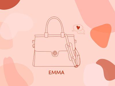 Jemma Bag - Valentine's day illustrations abstract shape social media design outline icon outline illustration outline campaign valentine day luxury bag bags drawings vector illustration shop