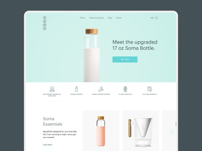 Soma water - Homepage redesign redesign soma sustainability pitcher bottle icons product card homepage webdesign design ui e-commerce design shop