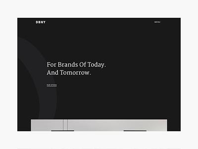 DBNY - Homepage contact projects menu nav transition agency website web agency website dbny branding navigation homepage webdesign design ui