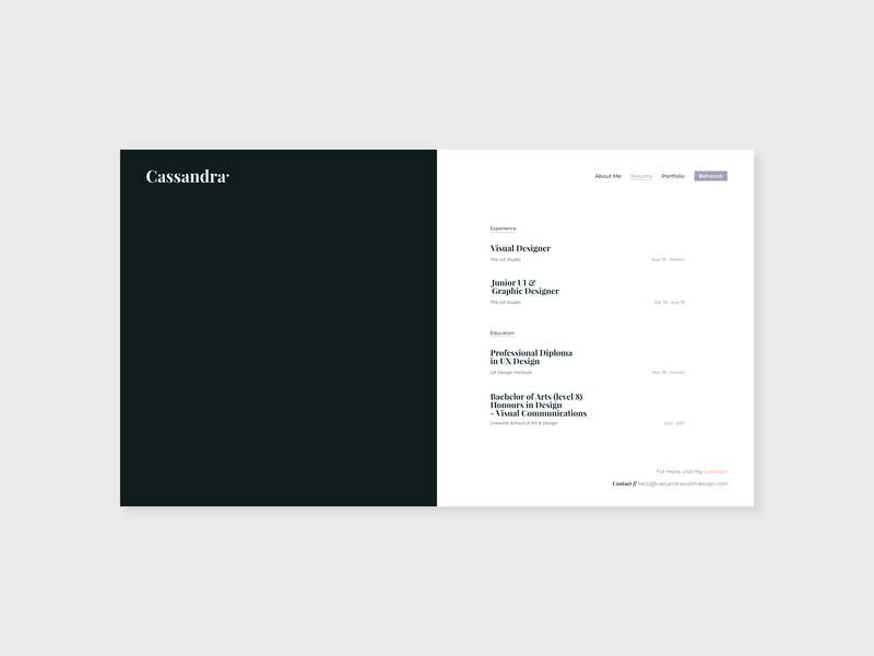 Resume - Personal Portfolio Website 2019 by Cassandra Walsh on Dribbble
