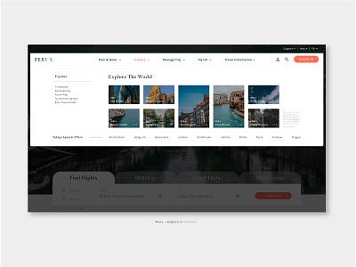 "FlyUX - Concept Project ""Explore"" (coursework) figma concept design high fidelity prototyping interaction design ux design web design branding website visual designer portfolio ui digital design design"