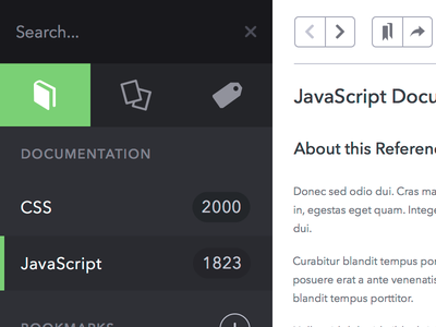 Documentation Browser documentation browser app reference css javascript snippets tags search bookmarks avenir