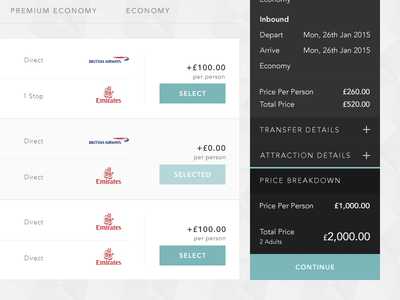 Flight Selection flights travel holiday sidebar summary breakdown airlines total price