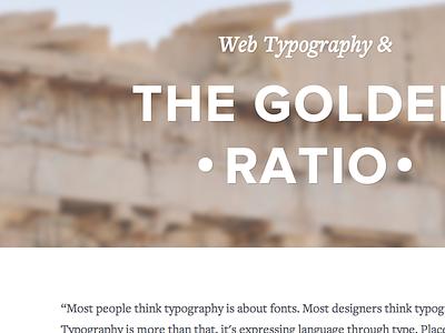 Web Type Exploration typography golden ratio freight text proxima nova web acropolis