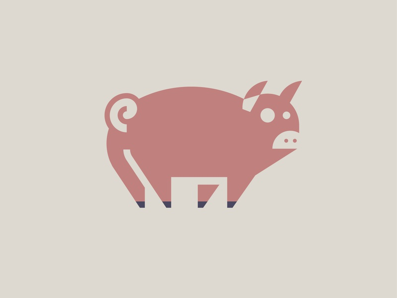 Pig Logo illustration animal illustration piggy icon mark logo minimal hog pig