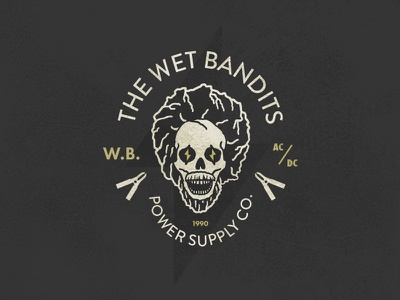 The Wet Bandits Power Supply Co. skull badge logo home alone electricity power wet bandits xmas holidays days christmas 12