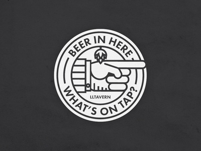 Beer in Here simple drinking tap hops pointing finger patch badge beer