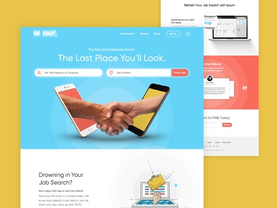 Job Board Home Page illustration automated job career job search career search job board branding ui ux web design web