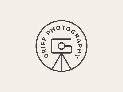 Griff Photography Logo tripod camera photography g badge branding identity logo