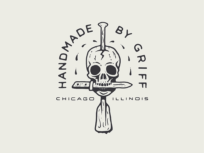 Handmade by Griff Logo crafted branding badge chicago paddle dagger knife handmade skull logo