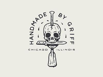 Handmade by Griff Logo crafted branding badge chicago paddle dagger knife handmade skull logo