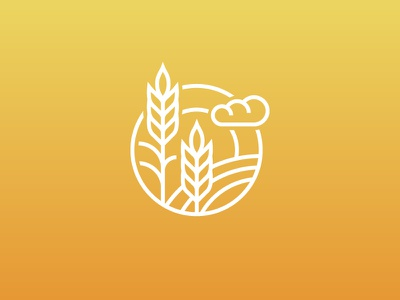 Fall Vibes sun cloud sky logo icon wheat fall