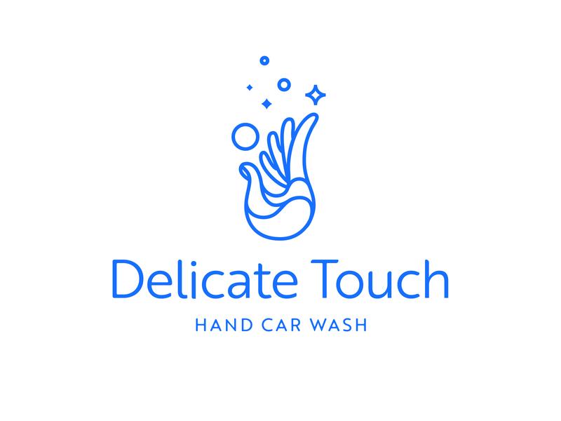 Delicate Touch Hand Car Wash Logo identity branding touch delicate bubbles car wash car wash hand logo