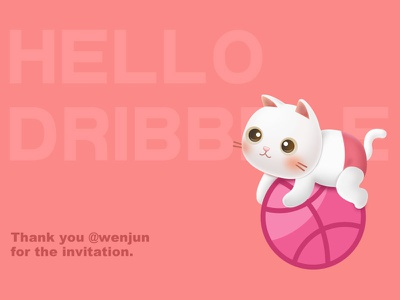 Dribbble First Shot ball cat invited invitation first debuts