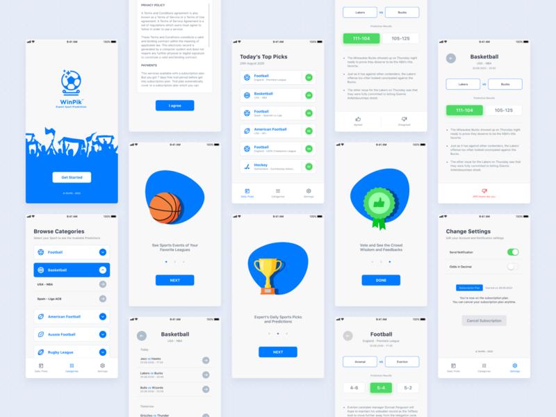 WinPik Sports Prediction app prediction sport minimal ios app clean illustration icon branding ux ui simple design