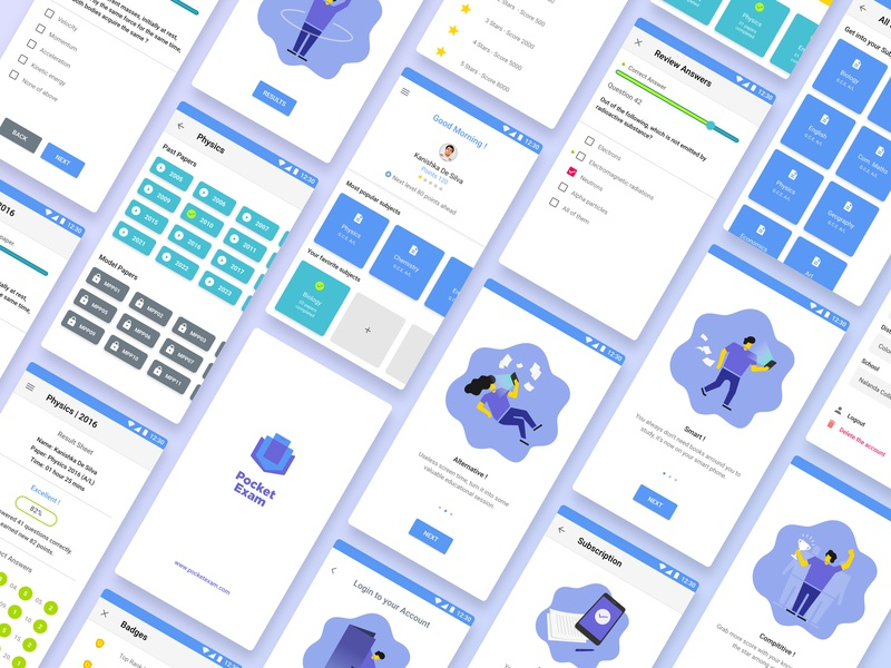 PocketExam app interactive design mobile e learning clean education branding illustration ui ux app simple design