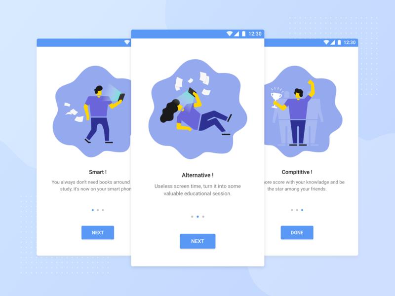 User onboarding for PocketExam android onboarding app vector ui ux branding illustration simple design
