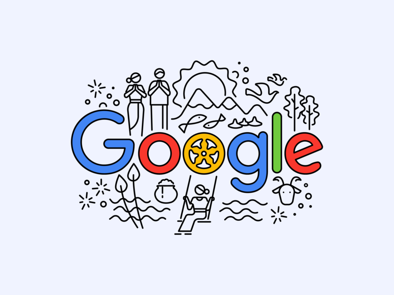 Happy Sinhala and Hindu New Year ! tamil sinhala new year sri lanka line art doodle google illustration branding web simple design