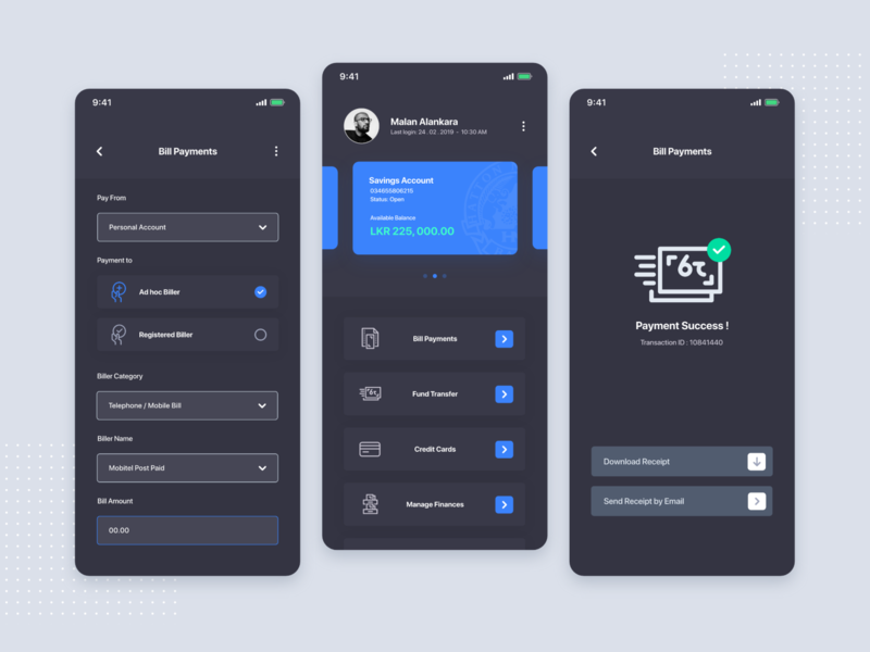 Online Banking - Dark Mode perfect ios app dark mode icon branding ux ui app simple design