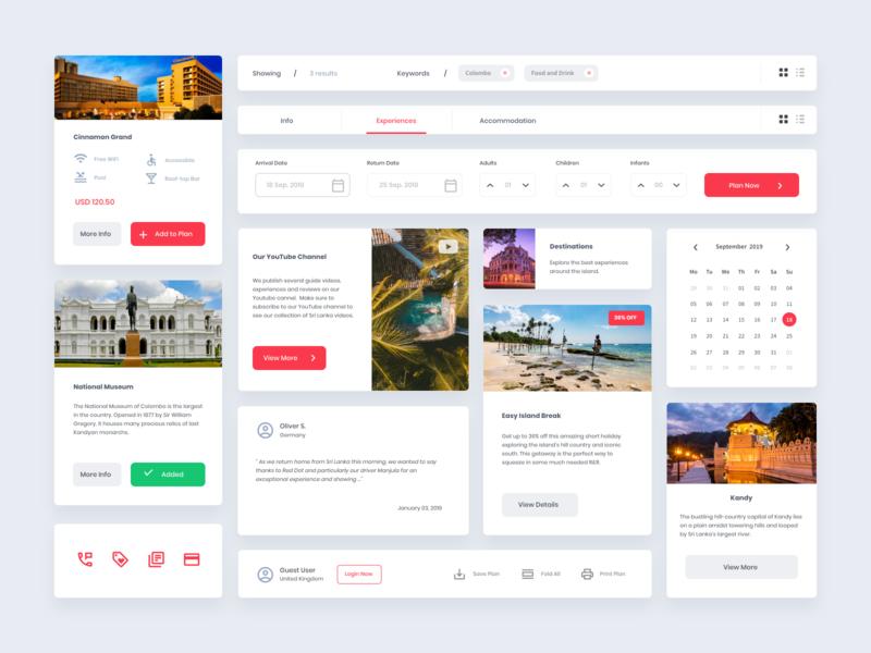 Travel web UI Kit modular design website icon sri lanka travel clean web branding ux ui design