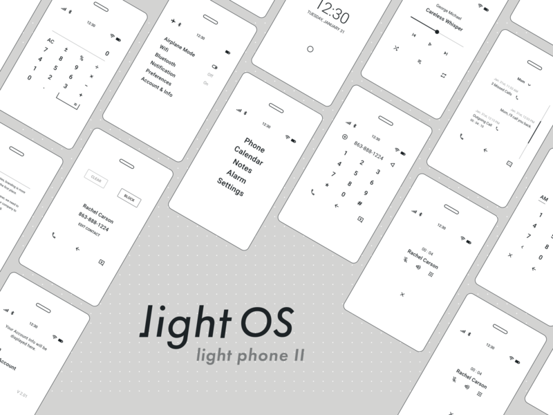 Light OS - Light Phone II display eink minimalistic icon ux lightphone clean branding ui simple design