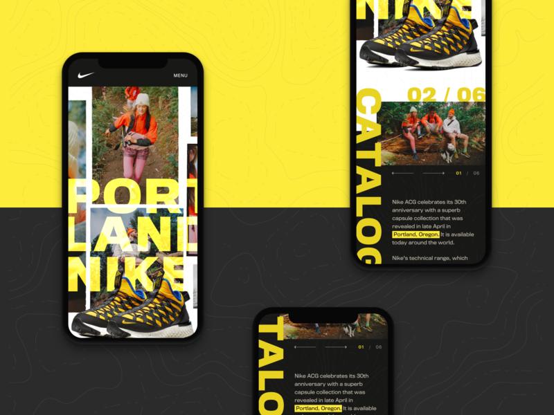 Nike Portland's Mobile Design Concept microsite nike microsite shoe website nike mobile web design responsive web design responsive design web ui ux website branding typography graphic design mobile interactive design product design mobile product design mobile design design