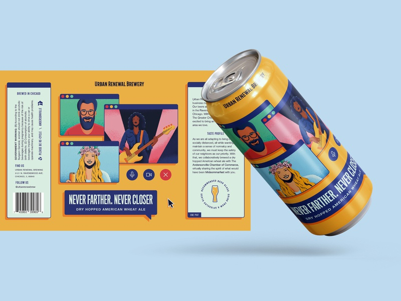 Never Farther. Never Closer hoppy wheat ale summer beer product design illustration beer art beer can beer branding packaging design beer illustration corona virus covid 19 covid social distancing beer label urban renewal brewing chicago beer midsommarfest summerfest music festival beer