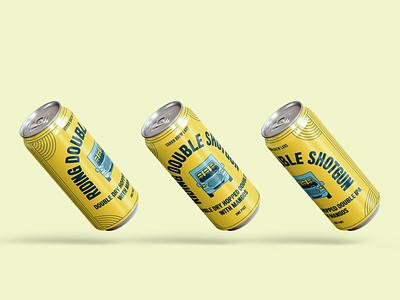 Riding Double Shotgun beer branding product design illustration branding design typography graphic design beer illustration package design beer packaging beer label beer can