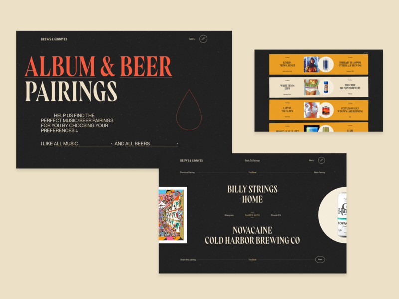 Brews and Grooves: Pairings Pages ui design blog editorial design beer review website web design branding typography ux website web ui graphic design design rogue studio brews and grooves music website product design interactive design