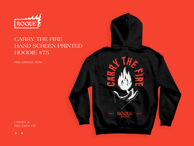 Carry The Fire perserverence dogged perserverence the creative pain keep going you got this uplifting retail ecommerce hoodie illustration hoodie rogue studio web design web website illustration product design branding typography graphic design design