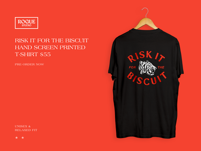 Risk It For The Biscuit screen printing apparel illustration apparel ecommerce patch design illustrated patch t-shirt design t-shirt animation web design illustration product design branding typography web ui graphic design design tiger risk it for the biscuit
