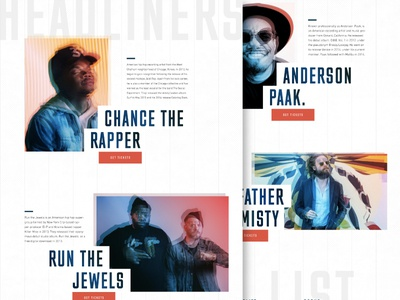 Festival Headliners  |  Daily UI anderson paak. father john misty run the jewels chance the rapper design web music ui fesitival daily ui