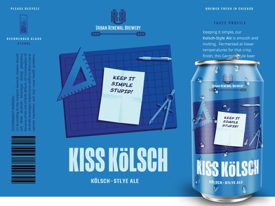 Kiss Kolsch | Urban Renewal Brewing breweries brewery beer illustration illustration can design design packaging design beer labels beer can beer