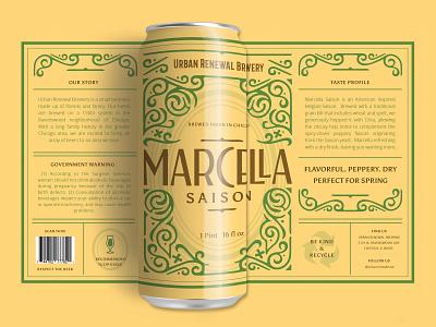 Marcella Beer Label chicago beer can design beer can packaging labels packaging design illustration beer labels graphic design design
