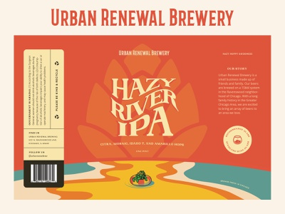 Hazy River package design packaging typography cool vector illustration graphic design beer branding beer label beer art beer can