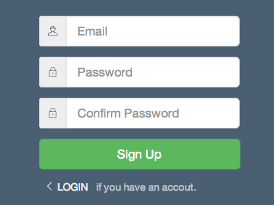 Sign up form form bootstrap html flat