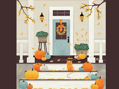 Pretty Autumn Porches comfort home orange digital painting wreath autumn leaves editorial illustration illustration procreate doors kitty pumpkin fall autumn