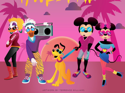 80s Mickey and Friends house of mouse pluto daisy goofy donald mouse minnie mickey illustrator illustration disney vector