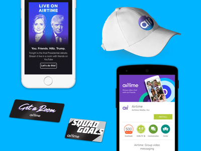Airtime - Branding group video app store nyc airtime hat stickers ui swag