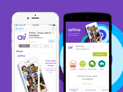 Airtime - App Store Screens group video google play app store nyc airtime screenshots
