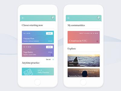 Wellness App Concept community explore gradient new york cards classes meditation yoga wellness