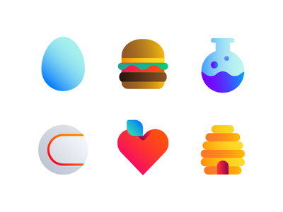 Topic Icons beehive heart baseball flask burger egg solid colorblock icons icon