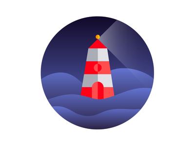 Lighthouse light gradient night beach