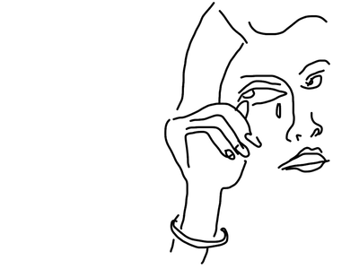 Girl Crying on The Bachelor black and white tv drawing face