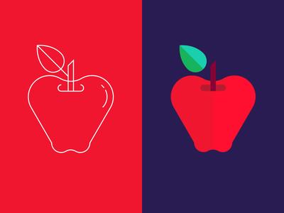 Apples line outline geometric apple icon