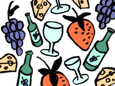 Snacks strawberries swiss cheese strawberry grapes wine